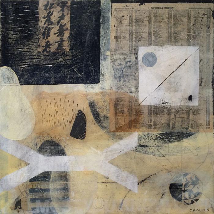 East is East, 2013, mixed media on wood panel, 18 x 18